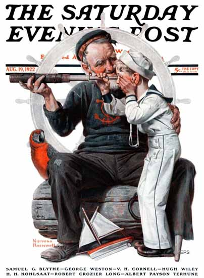 Roaring 1920s Norman Rockwell Saturday Evening Post Sailor 1922_08_19 | Roaring 1920s Ad Art and Magazine Cover Art