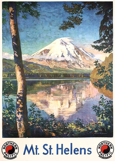 Roaring 1920s Northern Pacific Mount St Helens 1920s | Roaring 1920s Ad Art and Magazine Cover Art