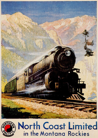 Roaring 1920s Northern Pacific North Coast Limited 1920s | Roaring 1920s Ad Art and Magazine Cover Art