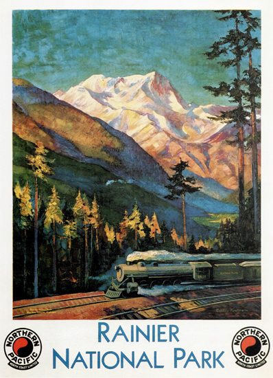 Roaring 1920s Northern Pacific Rainier National Park 1920s | Roaring 1920s Ad Art and Magazine Cover Art