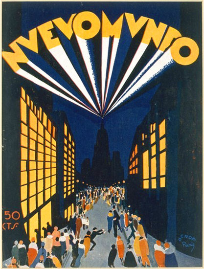 Roaring 1920s Nuovo Mundo Radio City Style Venue Paris 1928 | Roaring 1920s Ad Art and Magazine Cover Art