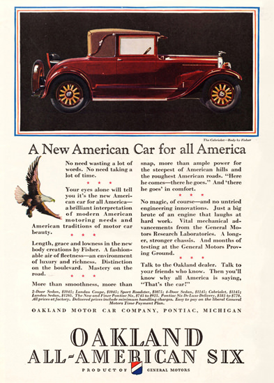 Roaring 1920s Oakland All American Six Cabriolet 1928 Fisher | Roaring 1920s Ad Art and Magazine Cover Art