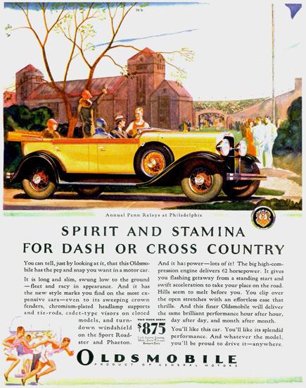 Roaring 1920s Oldsmobile Phaeton 1929 Spirit And Stamina | Roaring 1920s Ad Art and Magazine Cover Art