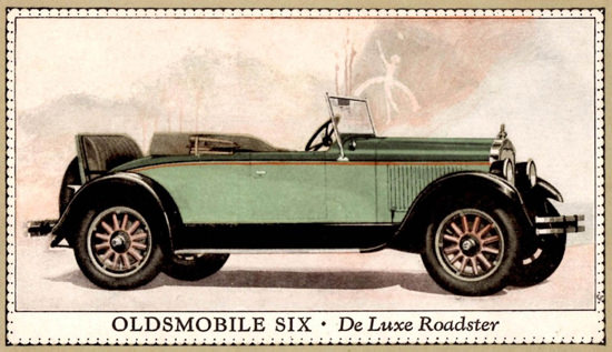 Roaring 1920s Oldsmobile Six De Luxe Roadster 1927 | Roaring 1920s Ad Art and Magazine Cover Art