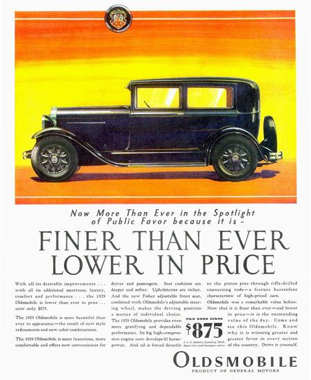 Roaring 1920s Oldsmobile Two Door Sedan 1929 | Roaring 1920s Ad Art and Magazine Cover Art