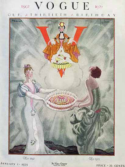 Roaring 1920s P Brissaud and G Lepape Vogue 1923-01-01 Copyright | Roaring 1920s Ad Art and Magazine Cover Art