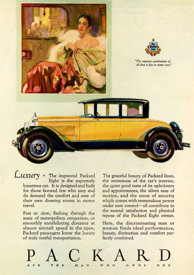 Roaring 1920s Packard Eight 4 Passenger Coupe 1927 | Roaring 1920s Ad Art and Magazine Cover Art