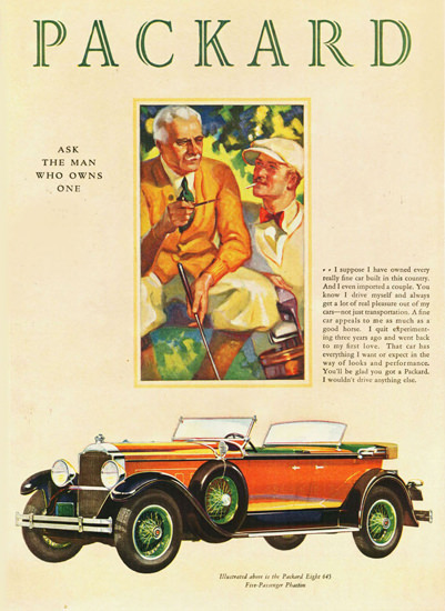 Roaring 1920s Packard Eight 645 Five Passenger Phaeton 1928 | Roaring 1920s Ad Art and Magazine Cover Art