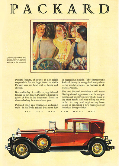 Roaring 1920s Packard Eight Le Baron All Weather 1928 | Roaring 1920s Ad Art and Magazine Cover Art