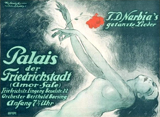 Roaring 1920s Palais Der Friedrichstadt Narbia Amor Saele 1920 | Roaring 1920s Ad Art and Magazine Cover Art