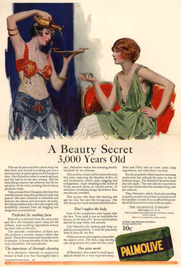 Roaring 1920s Palmolive Soap 3000 Year Old Secret 1922 | Roaring 1920s Ad Art and Magazine Cover Art