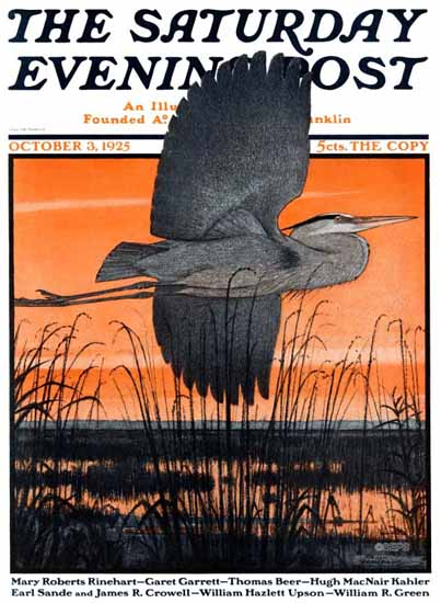 Roaring 1920s Paul Bransom Saturday Evening Post Heron 1925_10_03 | Roaring 1920s Ad Art and Magazine Cover Art