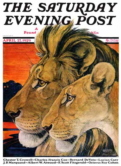 Roaring 1920s Paul Bransom Saturday Evening Post Lion 1929_04_27 | Roaring 1920s Ad Art and Magazine Cover Art