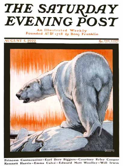 Roaring 1920s Paul Bransom Saturday Evening Post Polar Bear 1922_08_05 | Roaring 1920s Ad Art and Magazine Cover Art