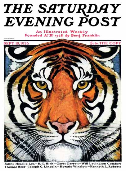 Roaring 1920s Paul Bransom Saturday Evening Post Tiger Face 1926_09_18 | Roaring 1920s Ad Art and Magazine Cover Art