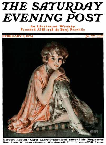 Roaring 1920s Pearl L Hill Cover Artist Saturday Evening Post 1924_02_09 | Roaring 1920s Ad Art and Magazine Cover Art