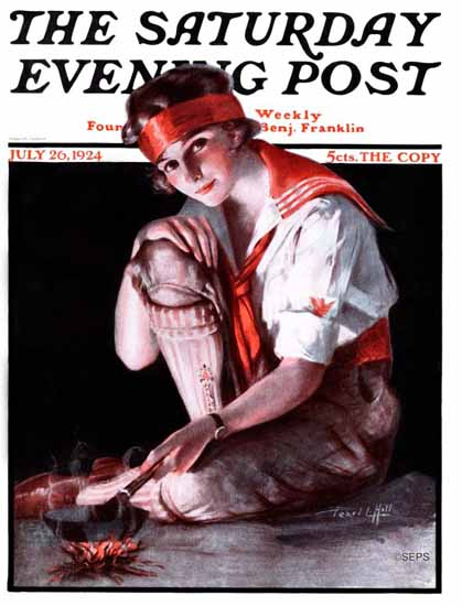 Roaring 1920s Pearl L Hill Cover Artist Saturday Evening Post 1924_07_26 | Roaring 1920s Ad Art and Magazine Cover Art