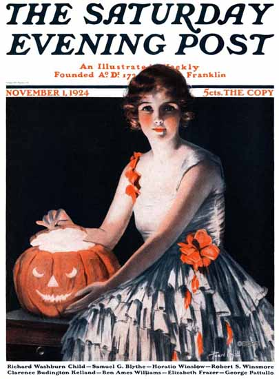 Roaring 1920s Pearl L Hill Saturday Evening Post Halloween 1924_11_01 | Roaring 1920s Ad Art and Magazine Cover Art