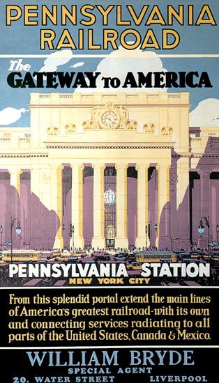 Roaring 1920s Pennsylvania Railroad Station New York 1929 | Roaring 1920s Ad Art and Magazine Cover Art