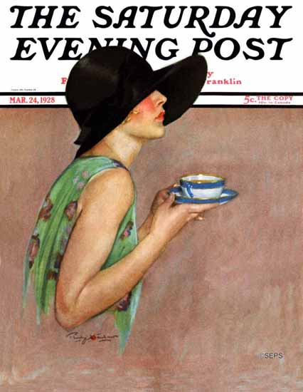 Roaring 1920s Penrhyn Stanlaws Saturday Evening Post 1928_03_24 | Roaring 1920s Ad Art and Magazine Cover Art