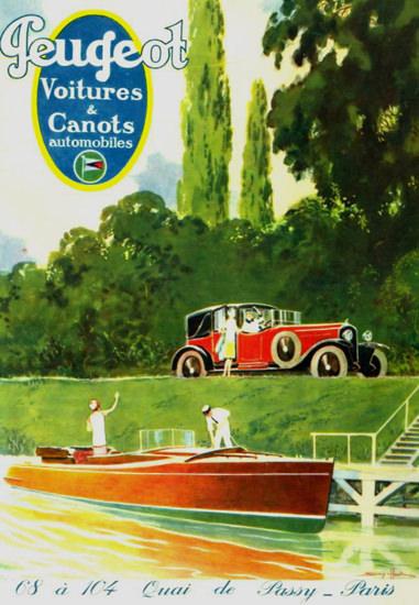 Roaring 1920s Peugeot 1927 Quai De Passy Paris   Roaring 1920s Ad Art and Magazine Cover Art