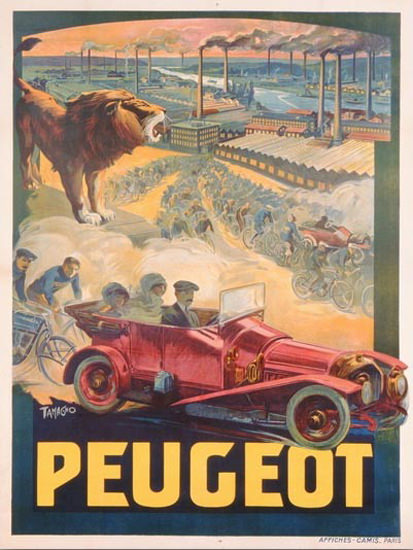Roaring 1920s Peugeot Automobiles Affiches Camis Paris 1922 | Roaring 1920s Ad Art and Magazine Cover Art