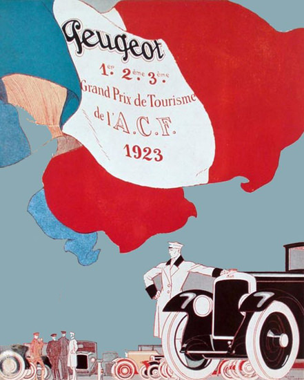 Roaring 1920s Peugeot Victory GP Of Tourisme De L ACF 1923 | Roaring 1920s Ad Art and Magazine Cover Art