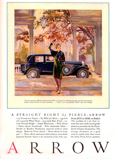 Roaring 1920s Pierce Arrow Automobile 1929 Straight Eight | Roaring 1920s Ad Art and Magazine Cover Art