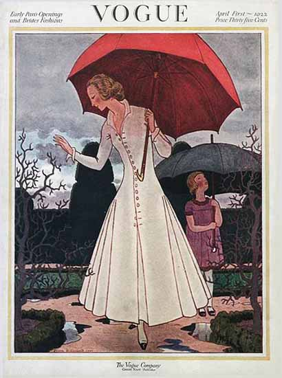 Roaring 1920s Pierre Brissaud Vogue Cover 1922-04-01 Copyright | Roaring 1920s Ad Art and Magazine Cover Art