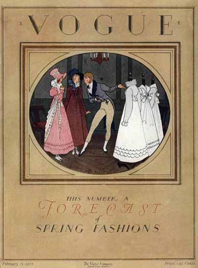 Roaring 1920s Pierre Brissaud Vogue Cover 1923-02-15 Copyright   Roaring 1920s Ad Art and Magazine Cover Art