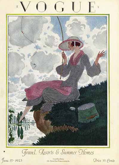 Roaring 1920s Pierre Brissaud Vogue Cover 1923-06-15 Copyright | Roaring 1920s Ad Art and Magazine Cover Art