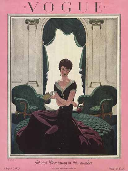Roaring 1920s Pierre Brissaud Vogue Cover 1925-08-01 Copyright | Roaring 1920s Ad Art and Magazine Cover Art