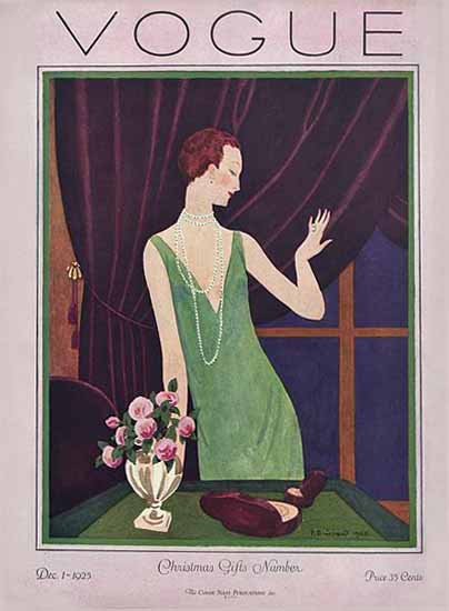 Roaring 1920s Pierre Brissaud Vogue Cover 1925-12-01 Copyright | Roaring 1920s Ad Art and Magazine Cover Art