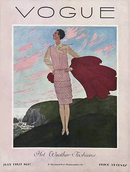 Roaring 1920s Pierre Brissaud Vogue Cover 1927-07-01 Copyright | Roaring 1920s Ad Art and Magazine Cover Art