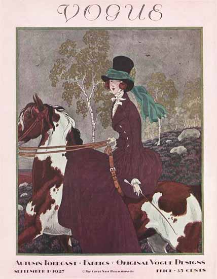Roaring 1920s Pierre Brissaud Vogue Cover 1927-09-01 Copyright   Roaring 1920s Ad Art and Magazine Cover Art