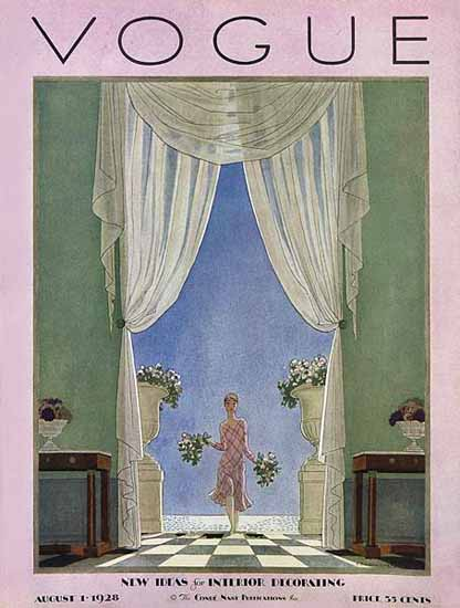 Roaring 1920s Pierre Brissaud Vogue Cover 1928-08-01 Copyright | Roaring 1920s Ad Art and Magazine Cover Art