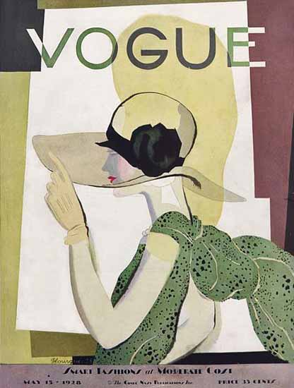 Roaring 1920s Pierre Mourgue Vogue Cover 1928-05-15 Copyright | Roaring 1920s Ad Art and Magazine Cover Art