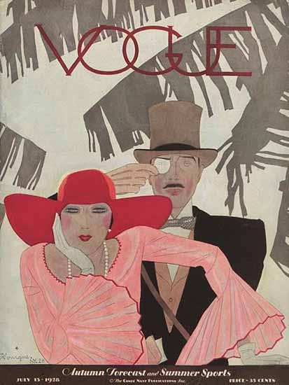Roaring 1920s Pierre Mourgue Vogue Cover 1928-07-15 Copyright | Roaring 1920s Ad Art and Magazine Cover Art