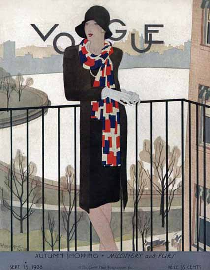 Roaring 1920s Pierre Mourgue Vogue Cover 1928-09-15 Copyright | Roaring 1920s Ad Art and Magazine Cover Art