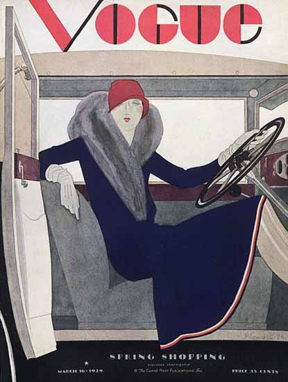 Roaring 1920s Pierre Mourgue Vogue Cover 1929-03-16 Copyright   Roaring 1920s Ad Art and Magazine Cover Art