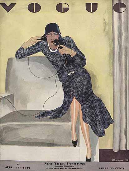 Roaring 1920s Pierre Mourgue Vogue Cover 1929-04-27 Copyright | Roaring 1920s Ad Art and Magazine Cover Art