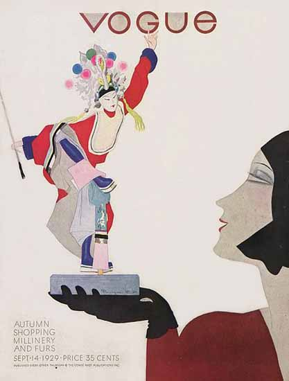 Roaring 1920s Pierre Mourgue Vogue Cover 1929-09-14 Copyright   Roaring 1920s Ad Art and Magazine Cover Art