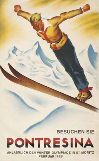 Roaring 1920s Pontresina Winter Olympiade St Moritz Switzerland 1928 | Roaring 1920s Ad Art and Magazine Cover Art