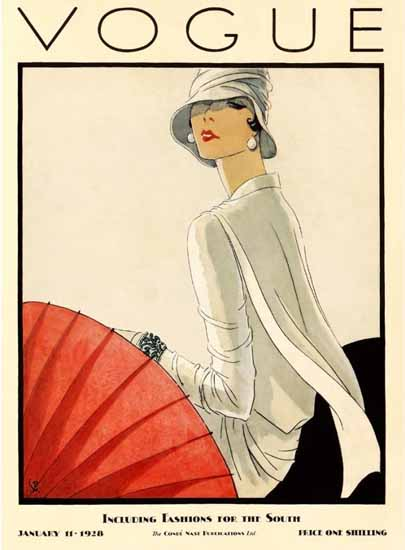 Roaring 1920s Porter Woodruff Vogue Cover 1928-01-11 Copyright | Roaring 1920s Ad Art and Magazine Cover Art