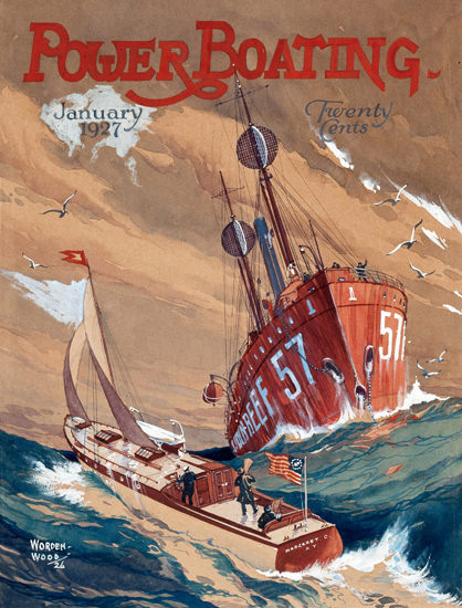 Roaring 1920s Power Boating Cover 1927 Storm On The Sea | Roaring 1920s Ad Art and Magazine Cover Art