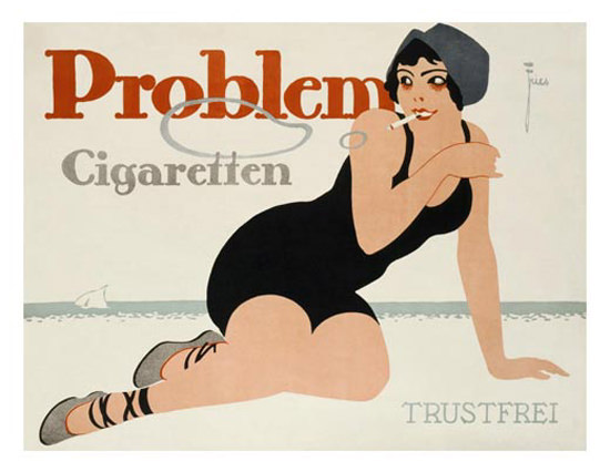 Roaring 1920s Problem Cigaretten Beach Girl 1920s Germany | Roaring 1920s Ad Art and Magazine Cover Art