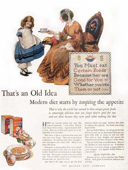 Roaring 1920s Quaker Oats 1926 Tempting Appetite Diet | Roaring 1920s Ad Art and Magazine Cover Art