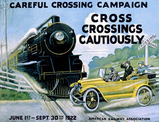 Roaring 1920s Railroad Crossing Careful Campaign 1922 | Roaring 1920s Ad Art and Magazine Cover Art