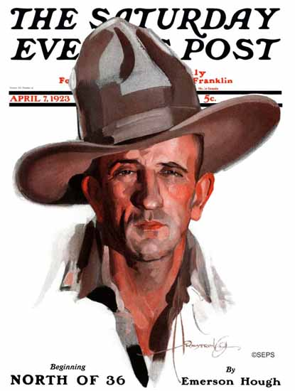 Roaring 1920s Rolf Armstrong Saturday Evening Post Cowboy 1923_04_07 | Roaring 1920s Ad Art and Magazine Cover Art