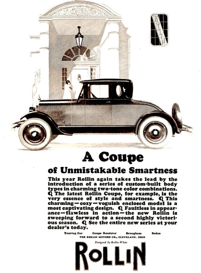 Roaring 1920s Rollin Coupe Smartness Cleveland 1925   Roaring 1920s Ad Art and Magazine Cover Art